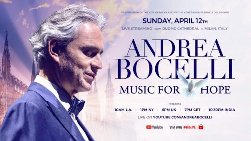 Andrea Bocelli's special concert will stream live on Easter Sunday